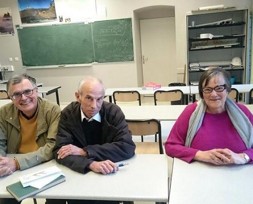 P. Bergounioux et des condisciples dans sa salle d'hypokhâgne